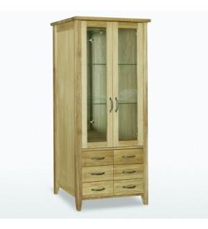 Grāmatu skapis ar stiklotām durvīm, 6 atvilktnēm, stikla plauktiem, apgaismojumu un spoguli WIN35G