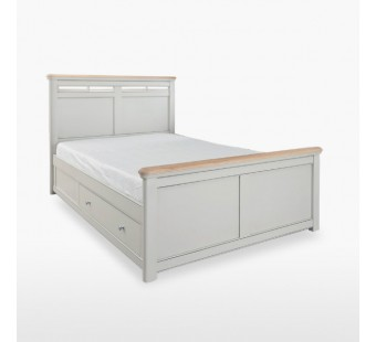 Double size solid bed frame with 2 storages CRO807